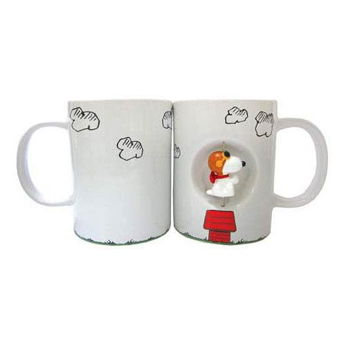 Peanuts Snoopy Flying Ace White 12 oz. Ceramic Spinner Mug