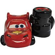 Cars Lightning McQueen and Tires Salt and Pepper Shakers