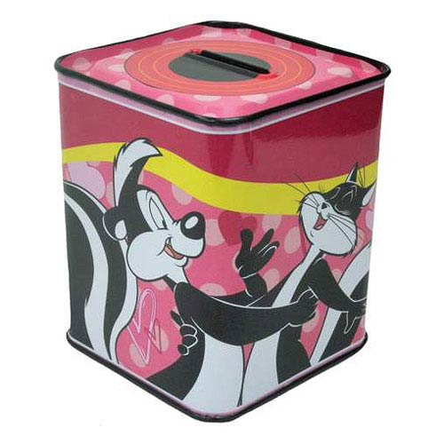 Looney Tunes Pepe Le Pew and Penelope Tin Bank