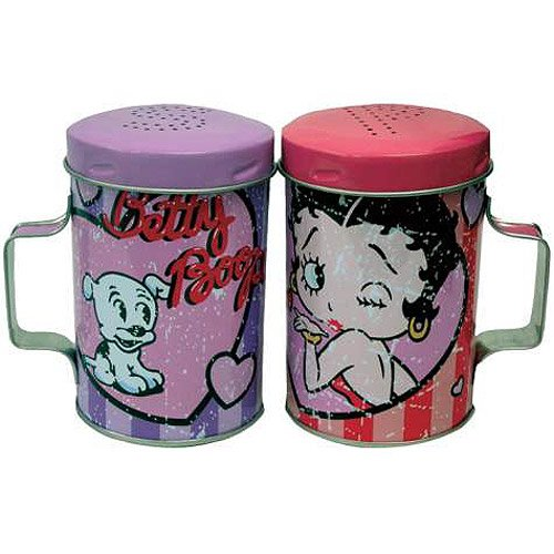 Betty Boop Betty and Pudgy Hearts Tin Salt & Pepper Shakers