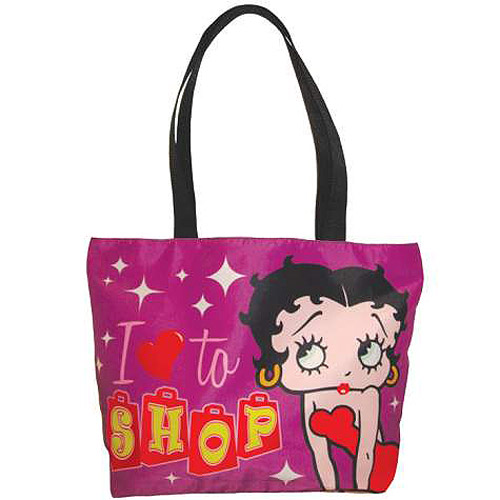 Betty Boop I Love to Shop Purple Tote Bag