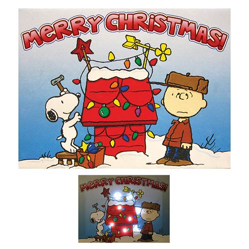 Peanuts Merry Christmas Doghouse Light-Up Canvas Print