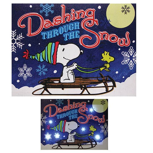 Peanuts Dashing Through the Snow Light-Up Canvas Print