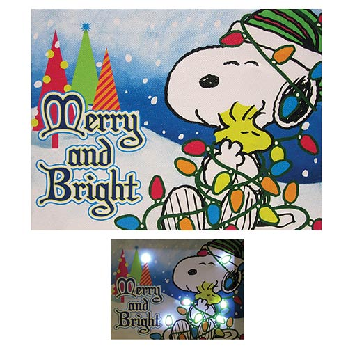 Peanuts Merry and Bright Light-Up Canvas Print