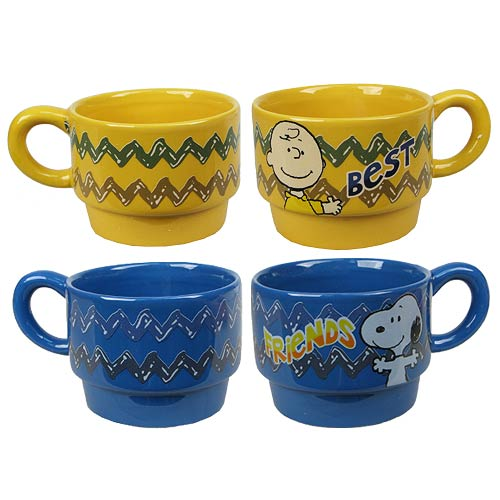 Peanuts Best Friends Stackable Ceramic Mugs Set