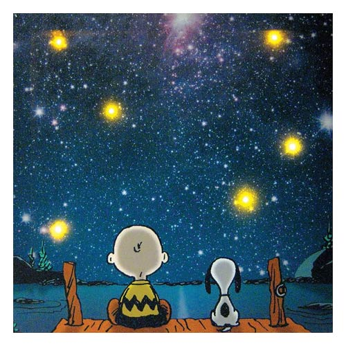 Peanuts Star Gazing Lighted Large Canvas Print Wall Art
