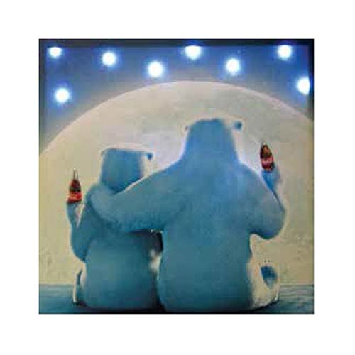 Coca-Cola Moonlit Polar Bears Light-up Canvas Print