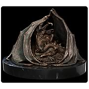 Hobbit Smaug the Golden Faux Bronze Statue and Book