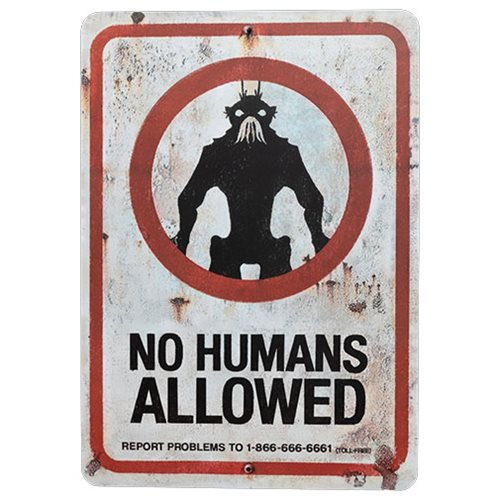 District_9_No_Humans_Allowed_Prop_Replica_Tin_Sign