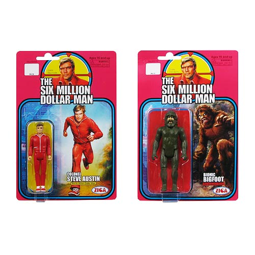 Six Million Dollar Man Series 1 Retro Action Figure Set
