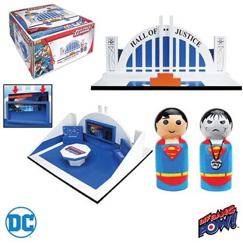 Justice League Pin Mate Wood Hall of Justice Playset with Superman and Bizarro