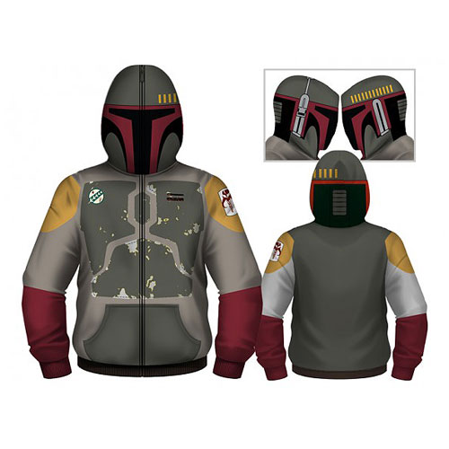 Star Wars Boba Fett Hooded Costume Fleece Zip-Up Hoodie