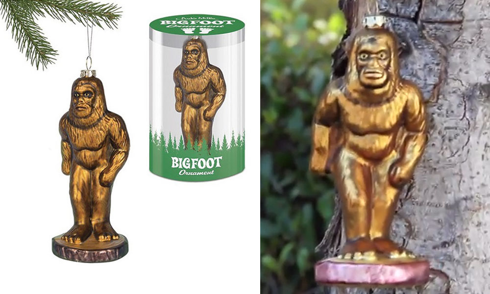 hide this 6 14 inch tall bigfoot glass ornament on your christmas tree and the whole family becomes bigfoot hunters beautifully sculpted to look like - Bigfoot Christmas Ornament