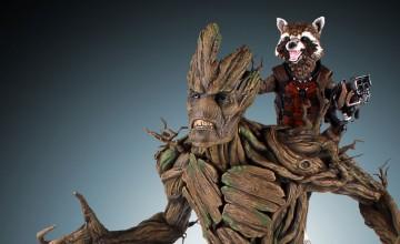Gentle Giant Rocket Raccoon and Groot Statue