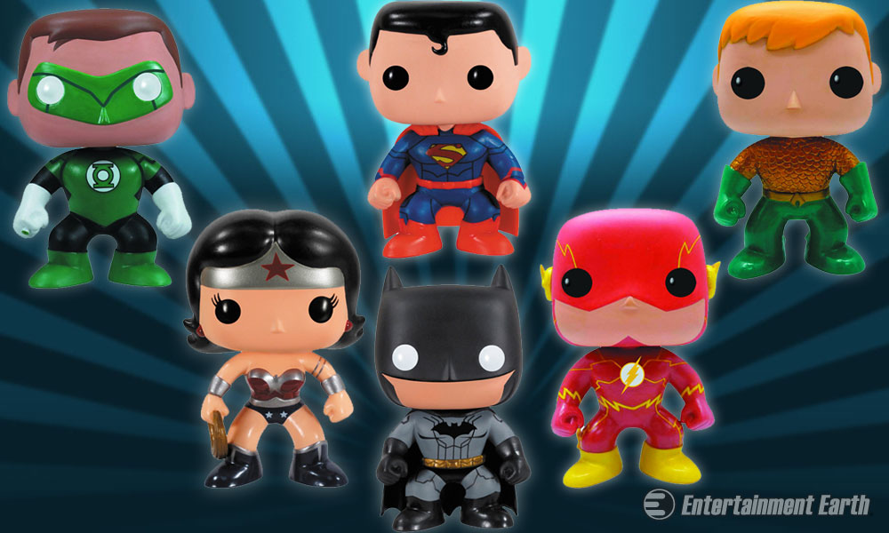 these pop  vinyl figures are a bunch of super friends