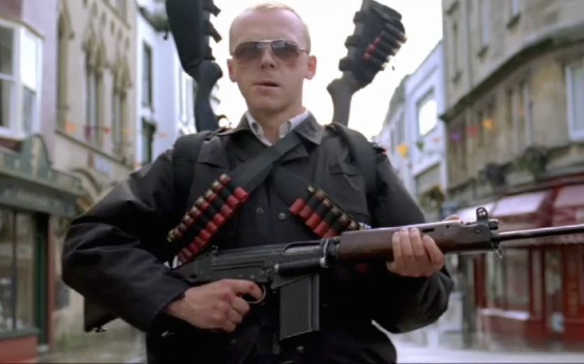 Simon Pegg Hot Fuzz Guns