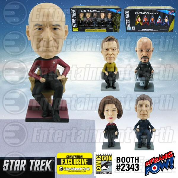 Star Trek: The Captains Monitor Mate Bobble Heads Set of 5 - Convention Exclusive