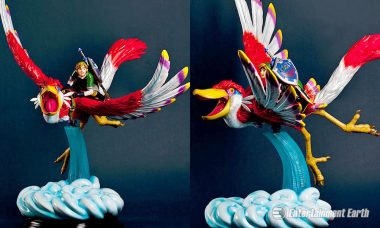 Link and Loftwing Fly Through the Clouds as New Skyward Sword Statue