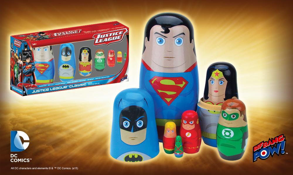 Justice League Nesting Dolls Set of 5 Bif Bang Pow