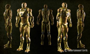 Iron Man Shines in Golden Mark 21 Suit with Lighted Hall