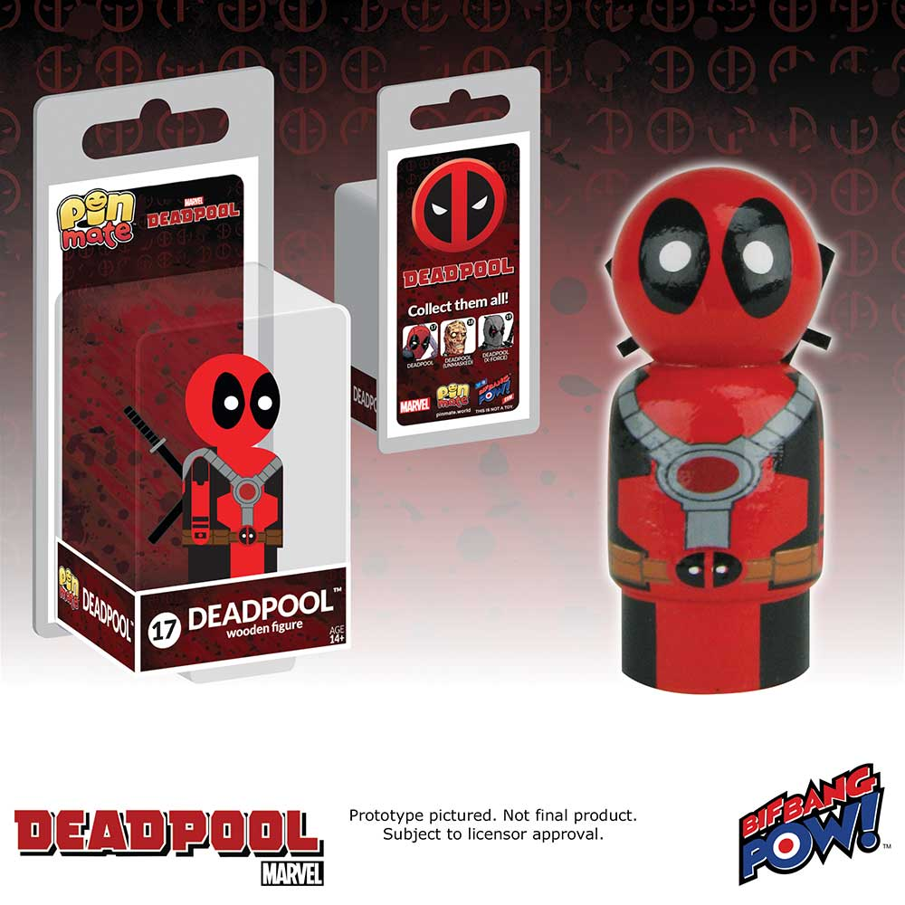Marvel Deadpool Masked Pin Mate Wooden Figure