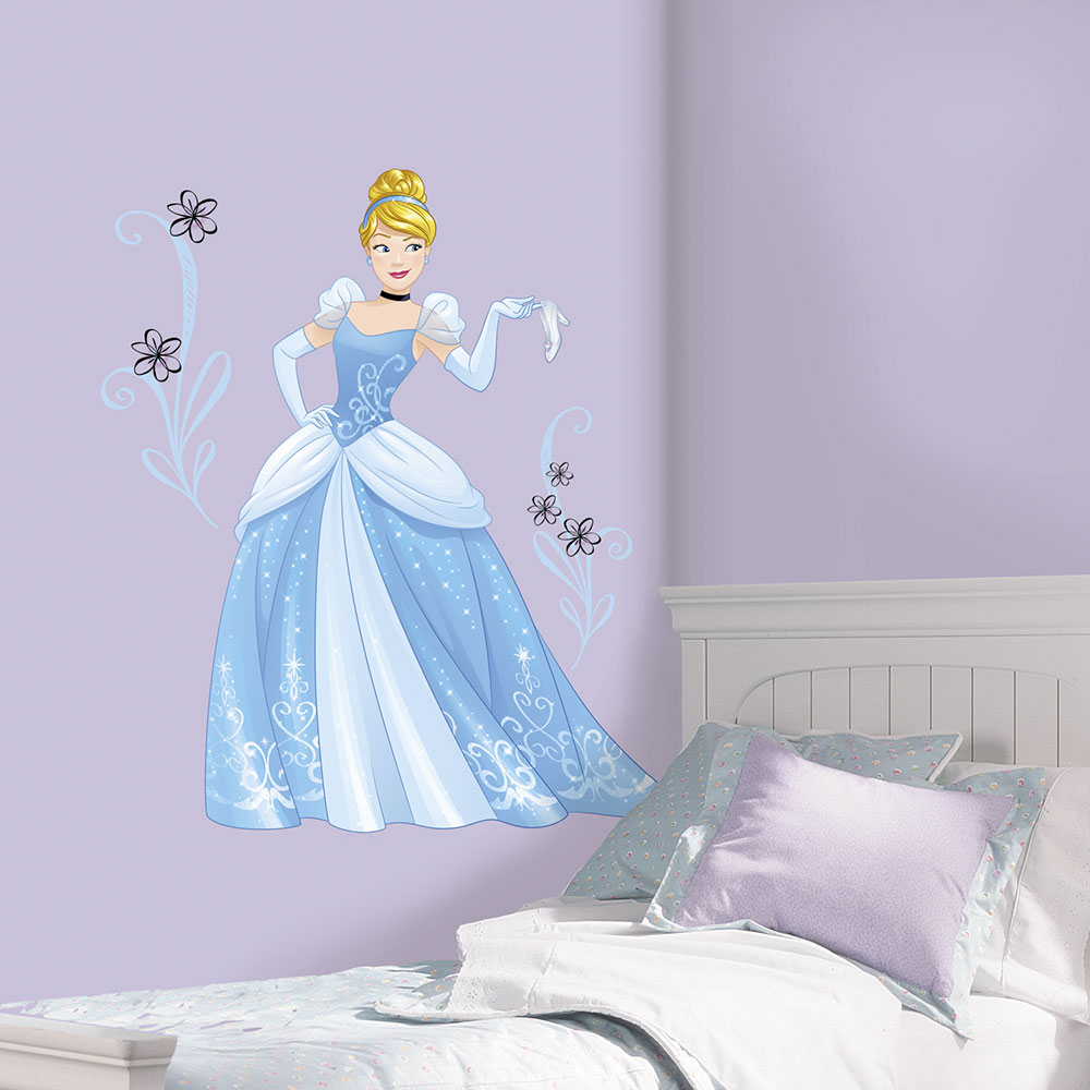 if your home is your castle then these princesses are ready to cinderella disney sparkling princess peel and stick giant wall decals