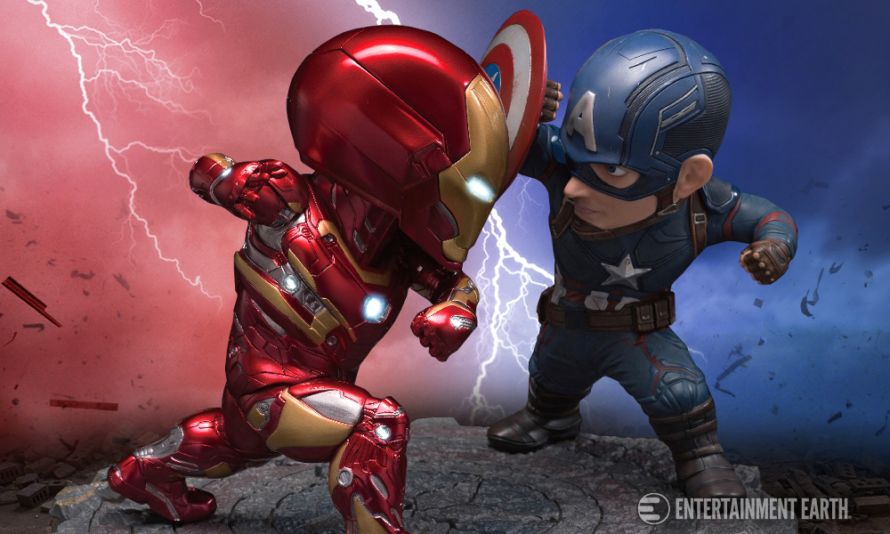 captain america and iron man egg attack statues will have you