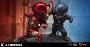 Cap and Iron Man Clash in This Egg Attack Statue 2-Pack