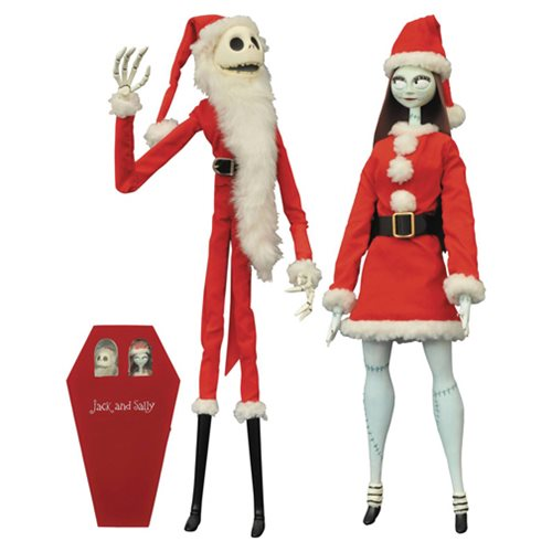 Nightmare Before Christmas Santa Jack and Sally Coffin Doll Set