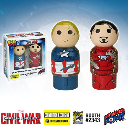 Captain America: Civil War Captain America vs. Iron Man Pin Mate Wooden Figure Set of 2 - Convention Exclusive