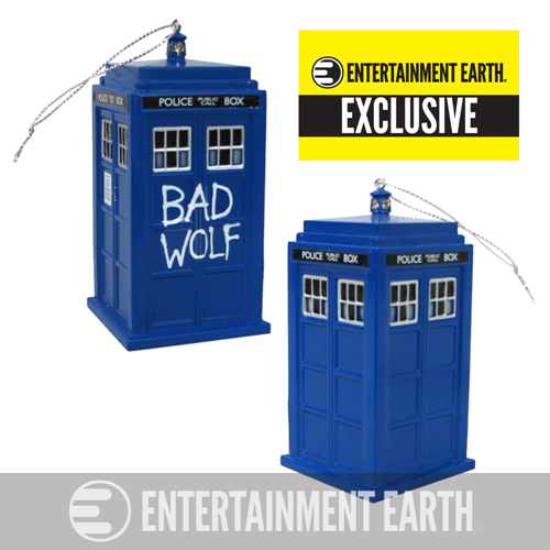 Doctor Who Bad Wolf TARDIS Holiday Ornament with Sound - Entertainment Earth Exclusive