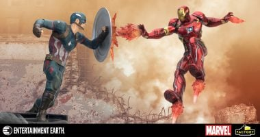 Bring the Superhero Civil War Home with This Amazing Captain America and Iron Man Statue!