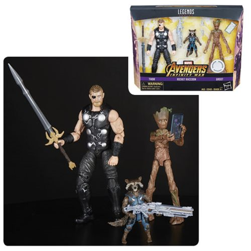Avengers Infinity War Marvel Legends Thor, Rocket Raccoon, and Groot 6-Inch Action Figures - Toys R Us Exclusive
