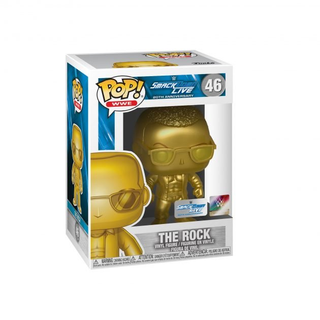 WWE Smack Down Live 20th Anniversary The Rock Gold Metallic Pop! Vinyl Figure #46 - NYCC Debut