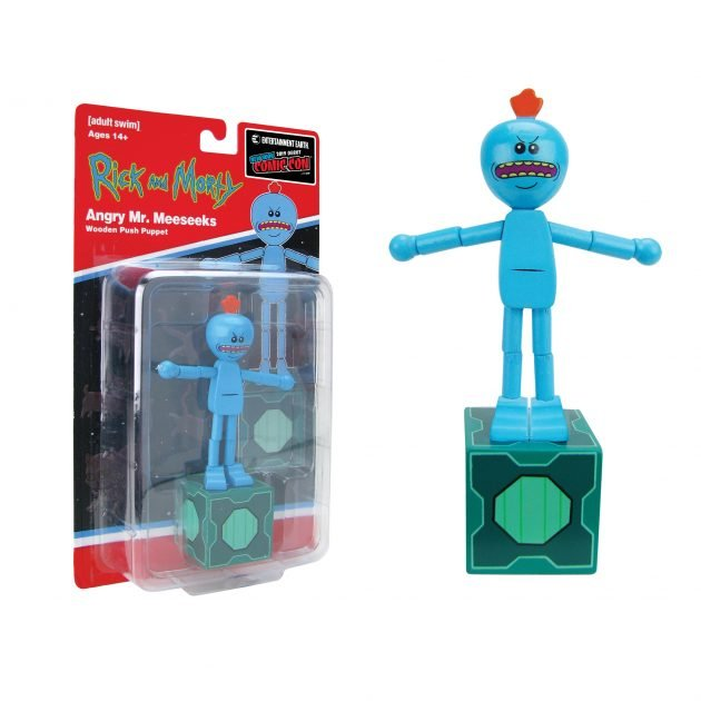 "<a href=""https://www.entertainmentearth.com/product/BBP31601ALT"">Rick and Morty Angry Mr. Meeseeks Wooden Push Puppet - NYCC Debut</a>"