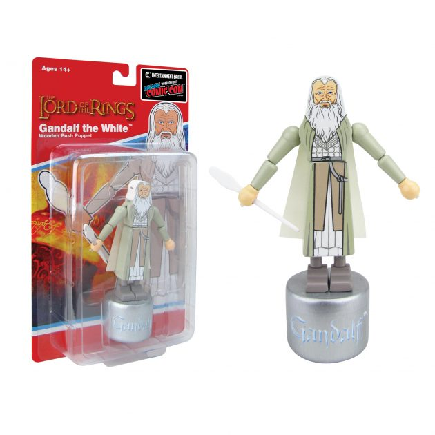 "<a href=""https://www.entertainmentearth.com/product/BBP33602"">The Lord of the Rings: The Fellowship of the Ring Gandalf the White Wooden Push Puppet - NYCC Debut</a>"