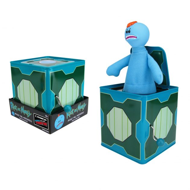 "<a href=""https://www.entertainmentearth.com/product/EE31701ALT"">Rick and Morty Angry Mr. Meeseeks Jack-in-the-Box - NYCC Debut</a>"