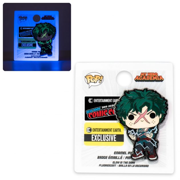 "<a href=""https://www.entertainmentearth.com/product/LFMHAPN0003EE"">My Hero Academia Deku Full Cowl Pop! Enamel Pin - NYCC Debut</a>"